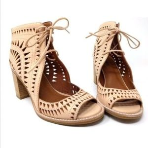 Jeffrey Campbell Laser Cut Sandal Bootie Nude NEW